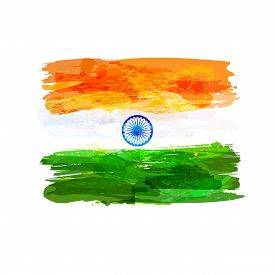 Indian Hand Drawn Watercolor Flag. Creative Watercolor Background In National Flag Tricolors. India
