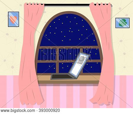 Night Out The Window Icon In Cartoon Style. Sleep And Rest Symbol. Laptop On The Windowsill