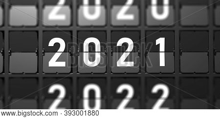 2021 New Year Change. White Digits From Split Flap Airport Letters On Black Background. 3D Illustrat
