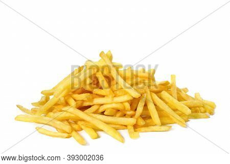 Pile Of Fried Fries Isolated On White. Unhealthy Food.