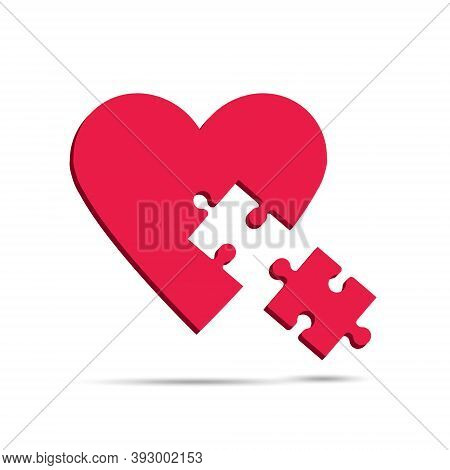 Red Heart And Missing Piece. Vector Illustration For Valentines Day.