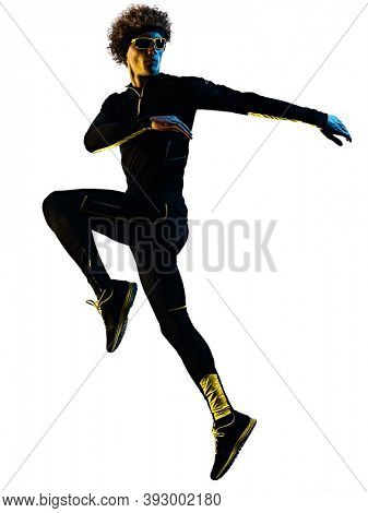 one youg caucasian runner jogger running jogging man warming up in studio shadow silhouette isolated on white background
