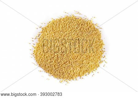 A Pile Of Wheat Groats On A White Isolated Background. View From Above.