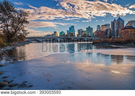 Blue Sky Over A Wintry Calgary River Valley