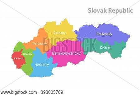Slovak Republic Map, Administrative Division, Separate Individual Regions With Slovakia Names, Color