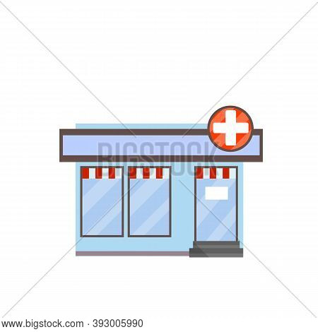 Pharmacy Building. Symbol White Cross On Sign. Medicine And Pharmacology. Treatment Of People With P