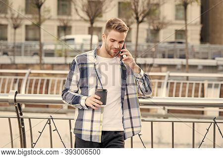 Modern Technology. Conversation With Friend. Call Me Later. Lets Meet In Few Minutes. Modern Life Co