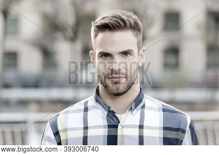 Masculine Appearance. Handsome Man Unshaven Face And Stylish Hair. Caucasian Man Urban Background. B