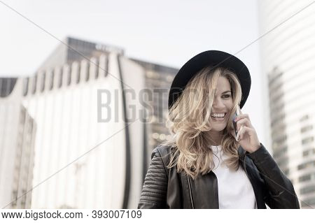 Business Communication. Modern Lifestyle. Beauty Look And Urban Fashion. Happy Parisian Girl In Fash