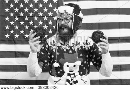 Cheerful Mood. Christmas Tradition From Usa. Xmas And New Year. Tradition Of Patriotism. My Country