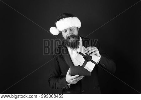 Surprise Your Boss. Happy Businessman Got Xmas Surprise. Excited Man Open Surprise Box. Surprise Fro