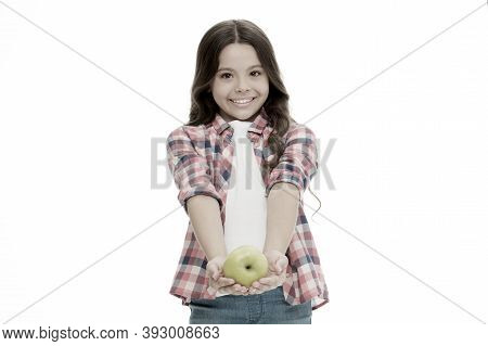 School Snack Concept. Apple Vitamin Snack. Girl Cute Long Curly Hair Holds Apple Fruit White Backgro
