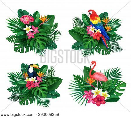 Vector Tropical Banner Set. Summertime Design For Advertising With Jungle Birds And Leaves And Flowe