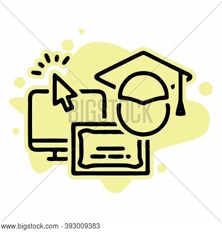 Educational Resources Vector Line Icon Set, Online Learning Courses, Distant Education, University D