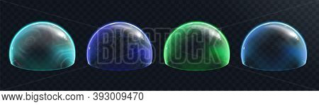 Force Field Set On Transparent Background. Defense Energy Shields Or Force Bubbles, Security Barrier