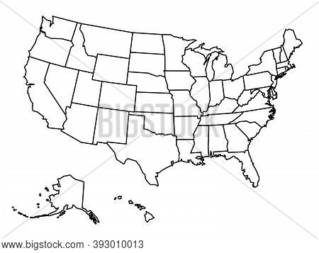 Blank Outline Map Of United States Of America. Simplified Vector Map Made Of Black Outline On White