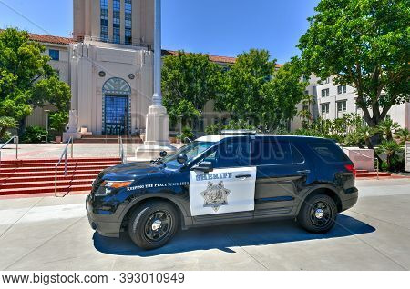 San Diego, California - July 25, 2020: San Diego And County Administration Building And San Diego Co