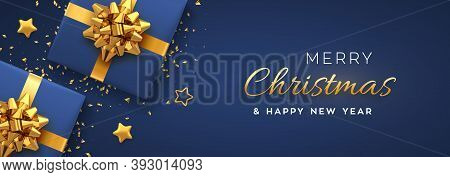 Christmas Banner. Realistic Blue Gift Boxes With Golden Bow, Gold Stars And Glitter Confetti. Xmas B