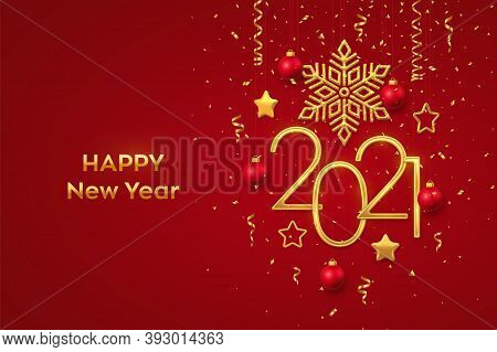 Happy New 2021 Year. Hanging Golden Metallic Numbers 2021 With Shining Snowflake, 3d Metallic Stars,