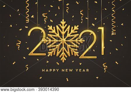Happy New 2021 Year. Hanging Golden Metallic Numbers 2021 With Shining Snowflake And Confetti On Bla
