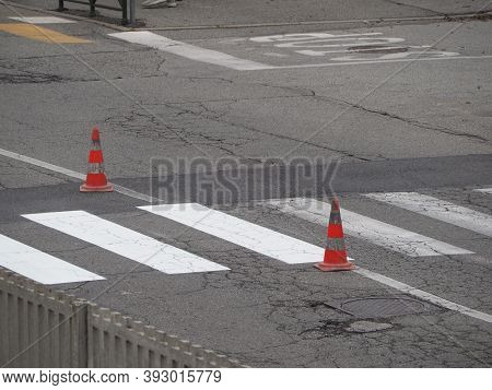 Road Works With Traffic Cones