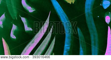 Spring Paint. Black And Blue Flower Paint. Abstract Artistic Illustration. Neon Spring Paint. Trendy