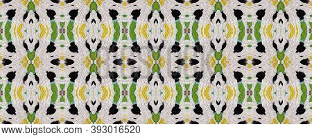 African Motif Pattern. Abstract Kaleidoscope Design. Repeatably Tie Dye Illustration. Ikat African P