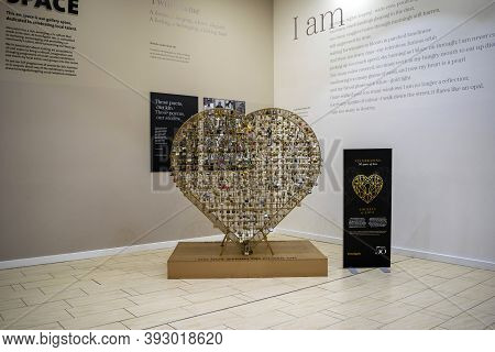 Doncaster, Yorkshire, England - October 7, 2020. Heart Full Of Padlocks Inside Of The Frenchgate Sho