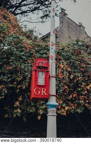 Frome, Uk - October 04, 2020: Close Up Of Red Gr Post Box In Frome, A Market Town In The County Of S