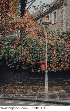Frome, Uk - October 06, 2020: Red Gr Post Box In Frome, A Market Town In The County Of Somerset, Uk.