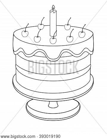 Cherry Cake With A Candle Covered With Icing. Birthday Cake On A Platter - Vector Linear Illustratio