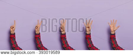 Male Hands Counting From One To Five. Man Shows Fingers Against Purple Studio Background. Hand Count