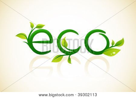 Eco - think green symbol with green leafs