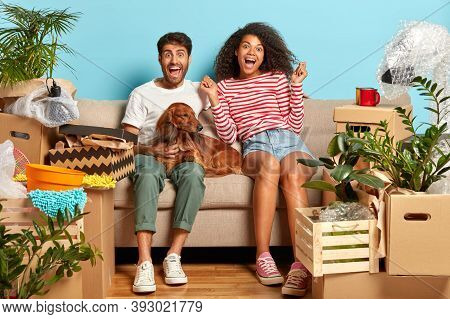 Overjoyed First Time Home Buyers Enjoy Relocation, Being Tenant Of New Apartment, Relaxes Before Unp
