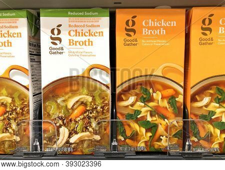Alameda, Ca - Oct 28, 2020: Grocery Store Shelf With Boxes Of Good And Gather Brand Chicken Broth. R