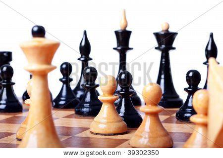 chess board focused closeup