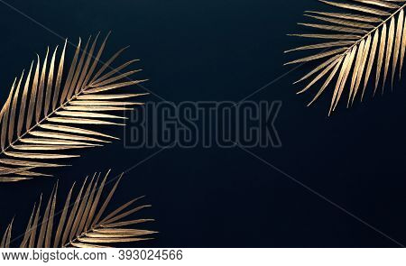 Collection Of Tropical Leaves In Gold Color On Black Space Background.abstract Leaf Decoration Desig