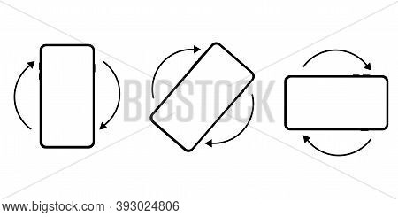 Vector Phone Rotation Icons. Rotate Images For A Smartphone. Swipe Device Symbols. Stock Image.