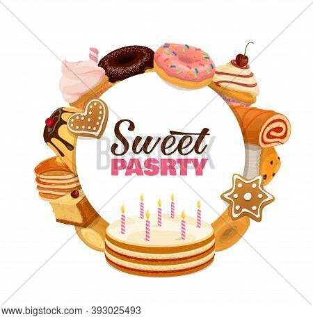 Confectionery Sweet Pastry Round Banner. Birthday Cake With Candles, Cheesecake And Cupcake, Donuts