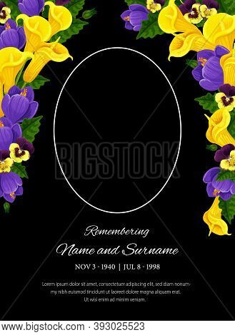 Funeral Card Vector Template, Oval Frame For Photo, Condolence Pansy And Calla Flowers, Place For Na
