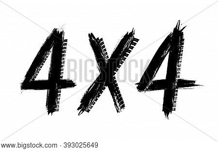 Offroad Four Wheel Drive Vector Symbol Made Of Black Tyre Prints. Isolated Grunge Typography For Aut
