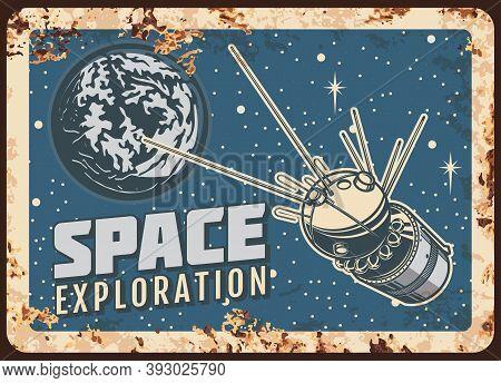 Satellite Space Exploration Vector Rusty Metal Plate, Ai Sputnik Fly On Earth Planet Orbit Retro Pos