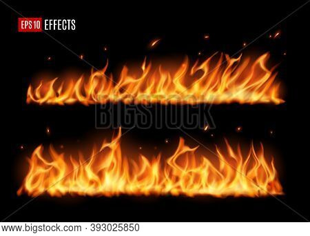 Long Burning Fire Tongues, Realistic Vector Flame With Particles, Flying Sparks And Embers. 3d Fire
