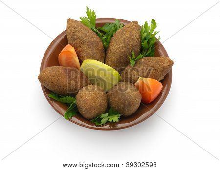 Lebanese Food of Fried Kibe Isolated on white