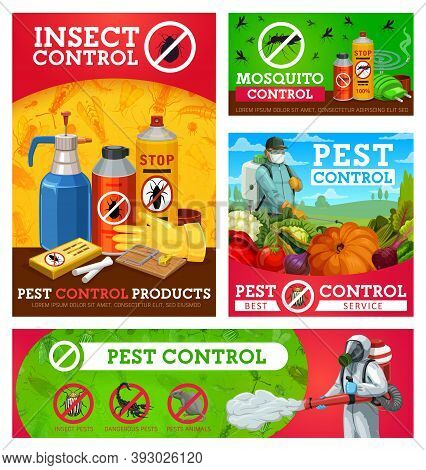 Insect Control Vector Posters. Extermination, Pest Control Workers Spraying Insecticide With Pressur