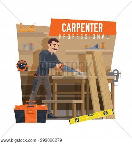 Carpenter Cutting Wooden Board On Workbench. Professional Carpenter Using Hand Saw, Joiner Crafting