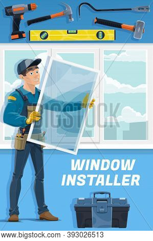 Windows Installer Service Worker. Handyman In Overalls And Cap Holding Glass, Installing Window Or M