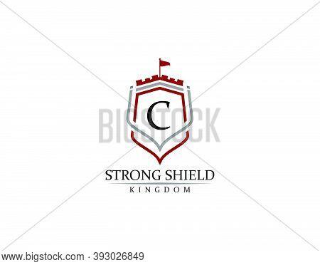 Strong Shield, Gold Heraldic C Letter Monogram. Retro Minimal Shield Shape.  Crown, Castle, Kingdom