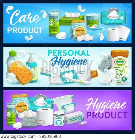 Hygiene, Care Products. Vector Soap, Toilet Paper And Shampoo, Brush, Toothpaste And Cleansing Wipes