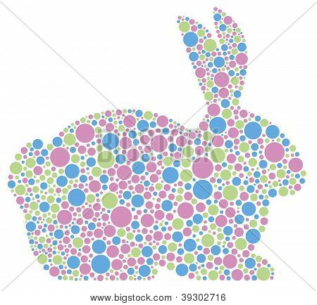Bunny Rabbit Silhouette in Pastel Colors Polka Dots Illustration Isolated on White Background poster